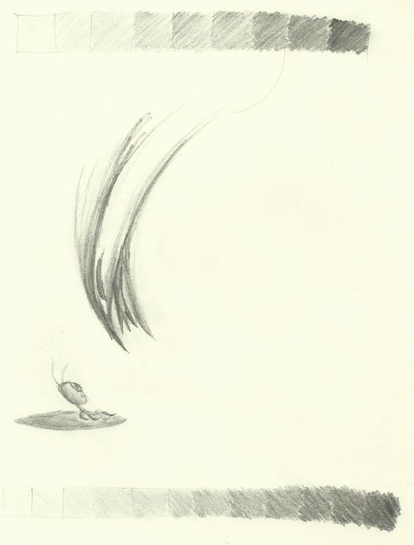 Another pencil drawing - a set of shaded squares at the top and bottom, and a shading-heavy scene of a menacing-looking bird barring down on an ant.