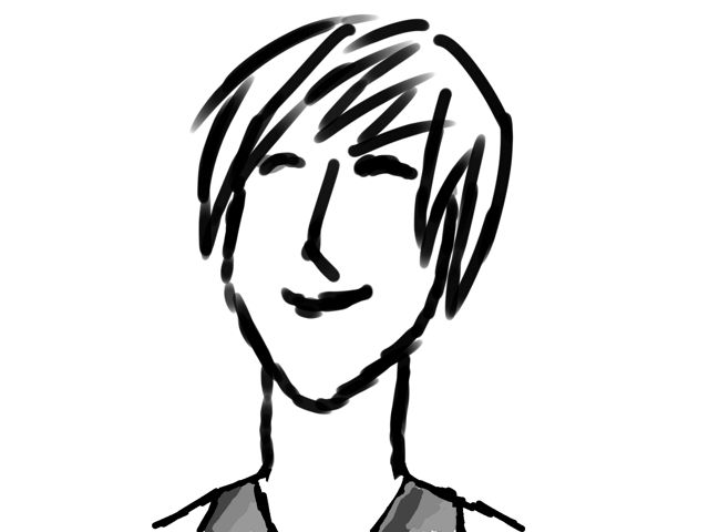 A digital drawing of a smiling person