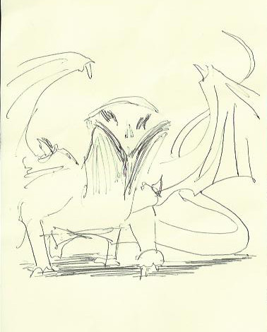 a drawing of a dragon with the same head as previous scratchy-bird