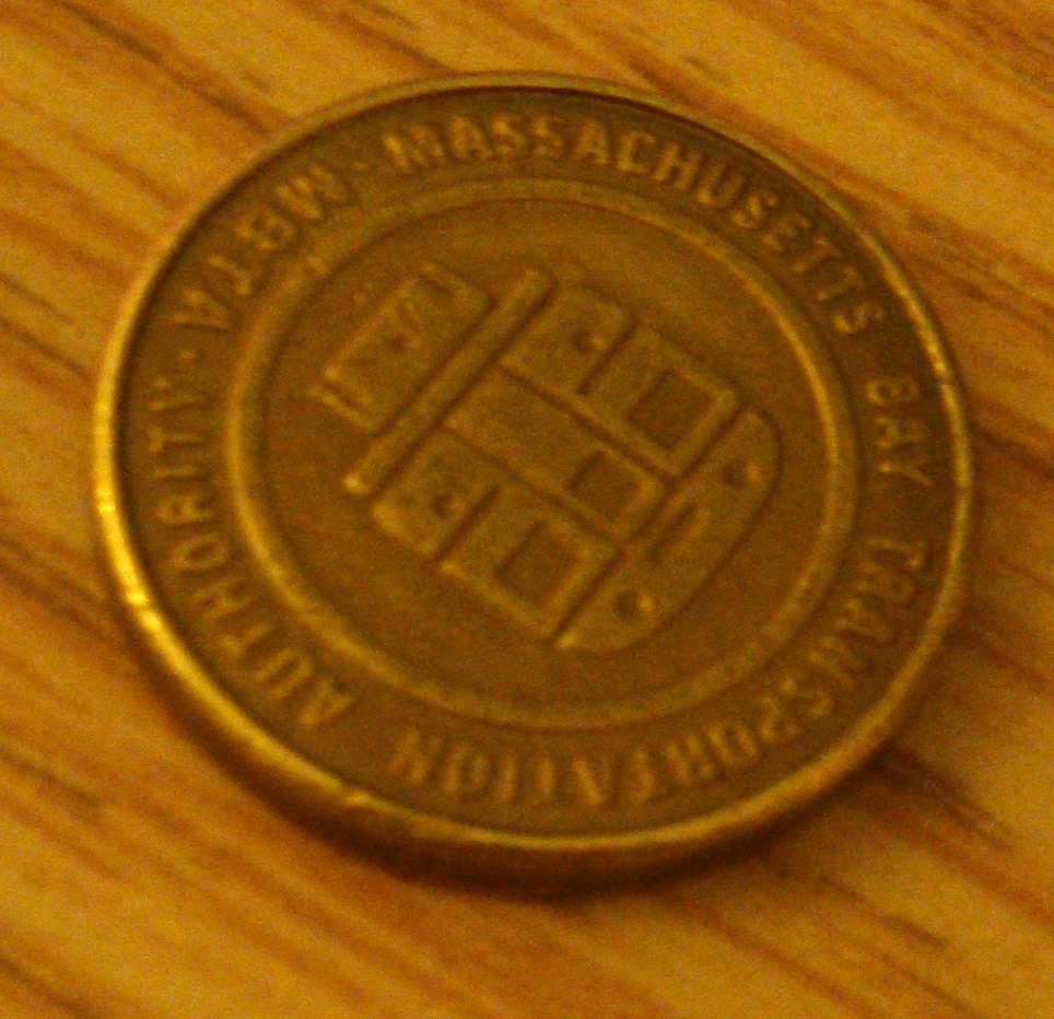 An MBTA token (from the back)